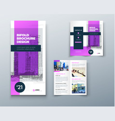 Bi fold purple brochure or flyer design vector