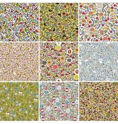 Big set of seamless doodle patterns vector