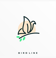 bird line template vector image