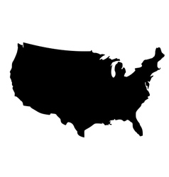 Black silhouette map of United States of America vector image