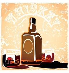 bottle of old whiskey vector image