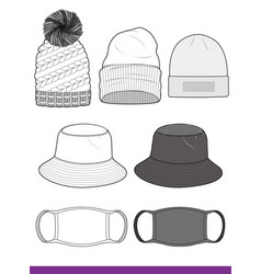 c81d160a859768 Bucket hat beanie mask set fashion template vector ...
