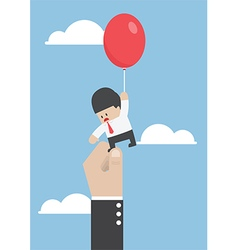 Businessman flying away with balloon but being hin vector