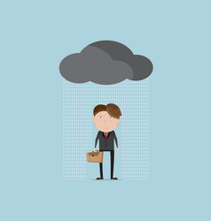 Businessman wet and tried in rainy day cartoon vector