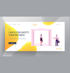 businesswoman stand in lift website landing page vector image