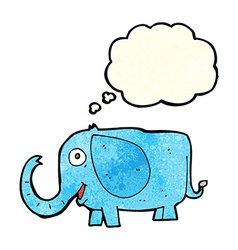 Cartoon baby elephant with thought bubble vector