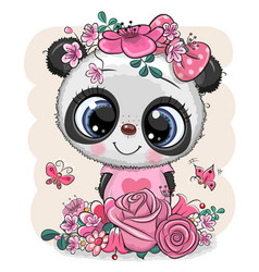 Cartoon panda with flowers on a white background vector