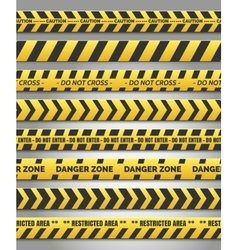Caution yellow tape set vector