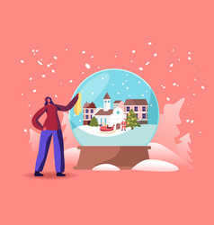 Christmas and new year holidays tiny female vector