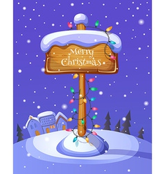 Christmas sign boards on winter background vector image