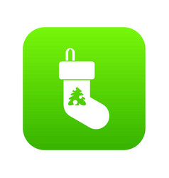 christmas sock icon digital green vector image