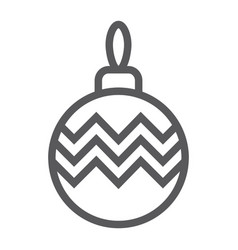 christmas tree ball line icon xmas and decoration vector image