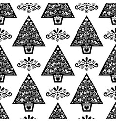 Christmas tree folk art seamless pattern vector