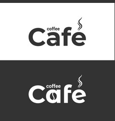 Coffee cafe logo coffee cup and bean label on vector
