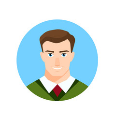 colorful male face circle icon in flat style vector image