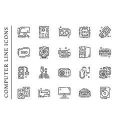 Computer parts line icons set isolated on white vector