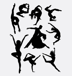 Contemporary dance people silhouette vector