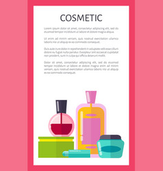 Cosmetic products vertical advertisement banner vector