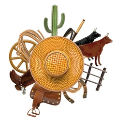 Cowboy Ranch Concept with Straw Hat vector