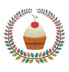 Crown of leaves with cupcake with cream and cherry vector
