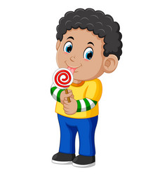 Curly boy licking a lollipop vector