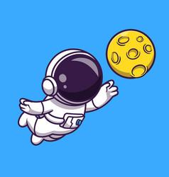 Cute astronaut catching moon cartoon icon vector