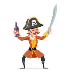 Cute cartoon pirate rum bottle character design vector