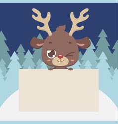 cute reindeer holding a blank sign vector image