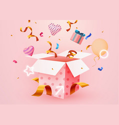 Cute surprise gift box with falling confetti vector