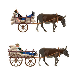 donkey cart with lying man vector image