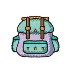 Doodle backpack travel style to expedition tourist vector