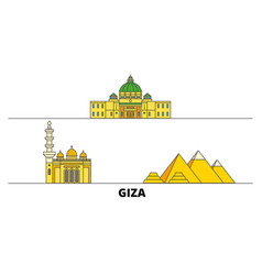 Egypt giza flat landmarks vector
