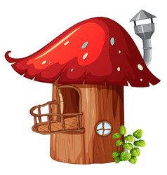 Enchanted mushroom wooden house vector