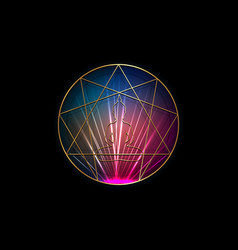Enneagram yoga logo design sacred geometry icon vector