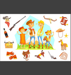 family dressed as cowboys surrounded wild west vector image