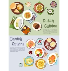 Festive dishes of dutch and danish cuisines icon vector image