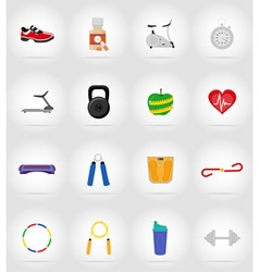 fitness flat icons 17 vector image