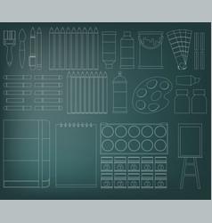 Flat design icons set of art supplies art vector