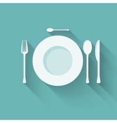 flat plate and cutlery with long shadows vector image