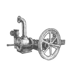 Flywheel steam engine vector