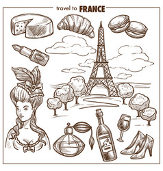 france travel landmark sketch symbols vector image