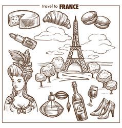 france travel landmark sketch symbols vector image