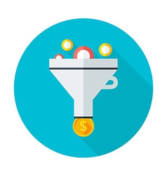 Funnel flat circle icon vector