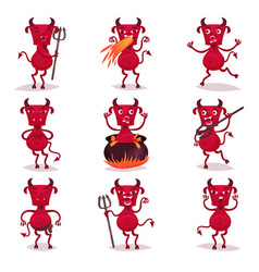 funny red devils with horns and tails set demon vector image