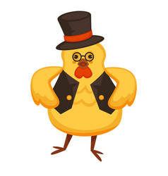 Funny rooster in tall hat and vest with round vector