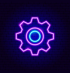 Gearwheel neon sign vector