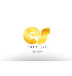 gold golden metal gradient es e s alphabet letter vector image