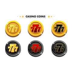 golden and black coins 777 casino game symbols vector image