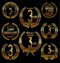 golden laurel wreath anniversary collection 3 vector image