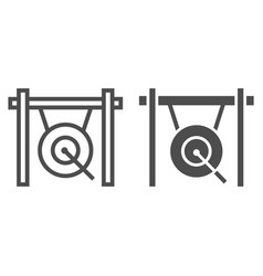 Gong line and glyph icon musical and china vector